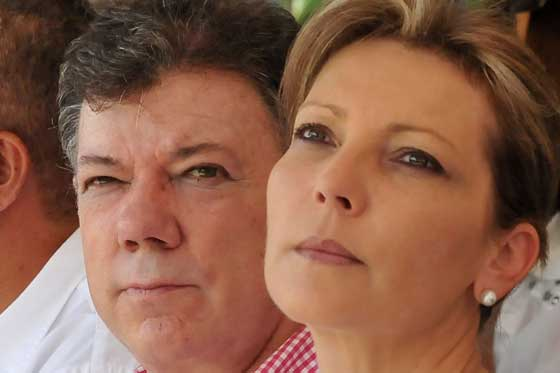 El presidente Juan Manuel Santos junto a su esposa, Mara Clemencia Rodrguez.